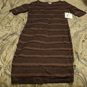 Lularoe Julia Red Black Stripe Medium